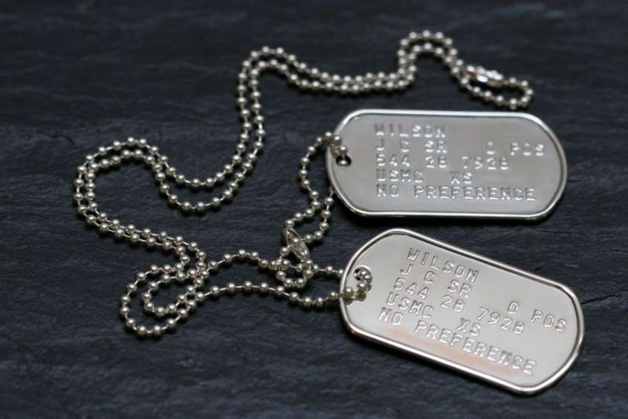 Silver dog tags close up dog tags made from silver 8ce15f153c4