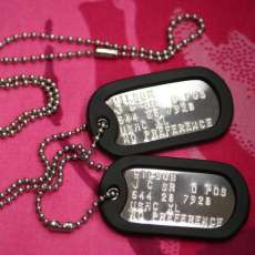 Shiny stainless steel dog tags